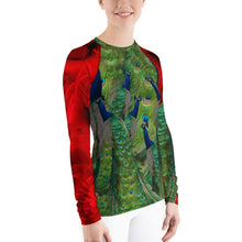 Load image into Gallery viewer, Women's Rash Guard - Peacocks and Roses