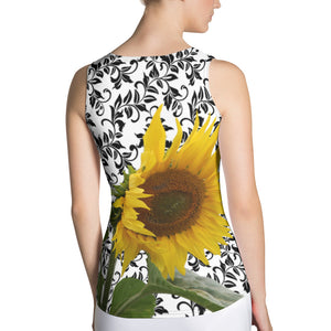 Sunflower Tank Top - Sunflower Tank Top with Beautiful Black and White Pattern Background