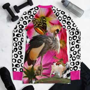 Women's Rash Guard- Crazy Animal Collage - Crested Crown, Spider, Trout, Fish, Squirrel, Butterfly, Goat, Fish Scales, Pink Flowers