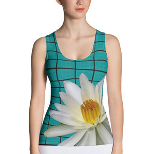 Tennis Court Pattern Shirt with White Water Lily - Turquoise