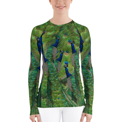 Women's Rash Guard - Peacock Sun Shirt - Peacock Tennis Shirt - Peacock Swim Shirt