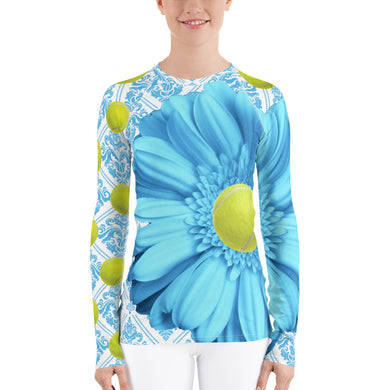 Women's Rash Guard - Sun Shirt- UPF Shirt - Sun Protection Shirt - Tennis Theme - Tennis Shirt