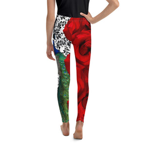 Youth Leggings - Peacock and Roses