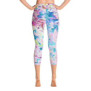 Yoga Capri Leggings - Pink Pastel Abstract