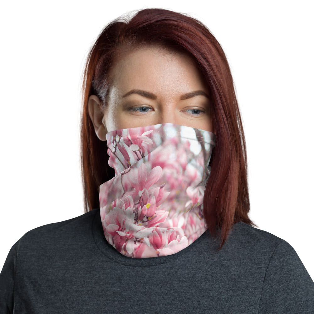 Neck Gaiter - Face Mask - Japanese Magnolias - Pink Flowers - Face Protector