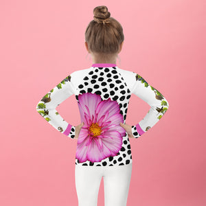 Kids Rash Guard- Crazy Funky Tree with Lots of Fun Animals and a Pink Flower