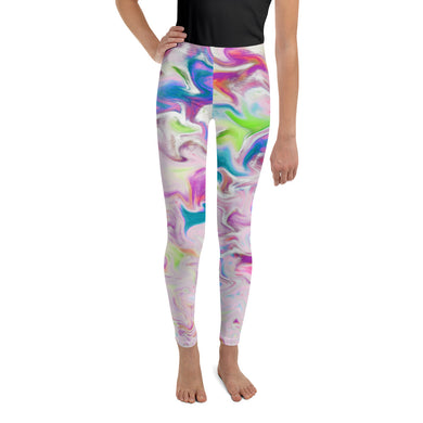 Youth Leggings - Abstract Pink Pastel