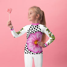 Load image into Gallery viewer, Kids Rash Guard- Crazy Funky Tree with Lots of Fun Animals and a Pink Flower