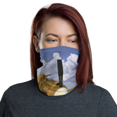 Neck gaiter - face shield, face protector, bandana, face mask, cat flying an airplane