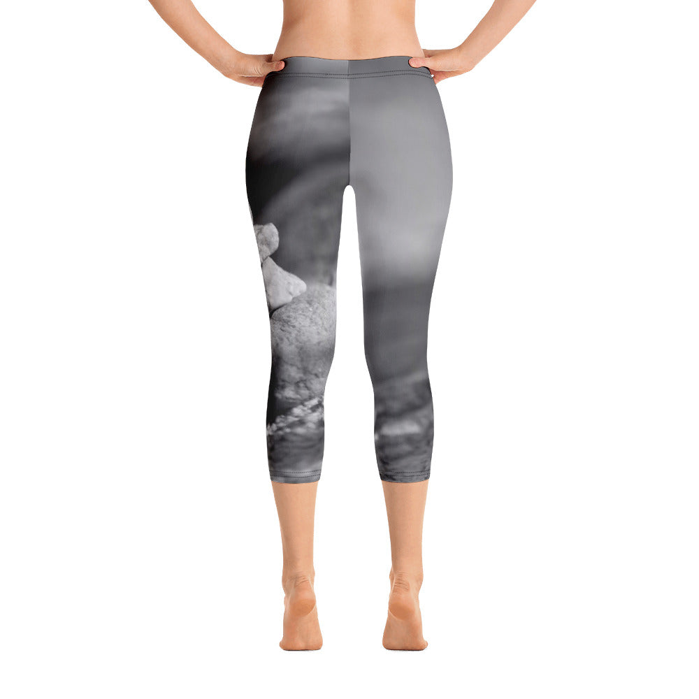Capri Leggings- Rock Stacking - Yoga Leggings - Black and White Leggings