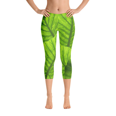 Capri Leggings - Tropical Leaves