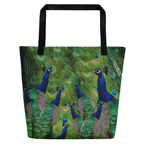 Tennis Bag - Tennis Theme Tote Bag - Peacock Tote Bag