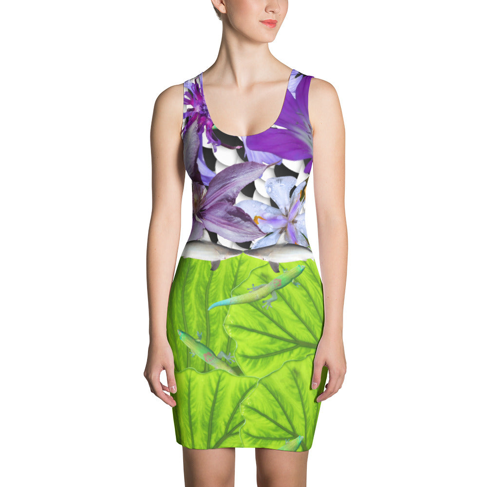 Bodycon - Fitted Shark Belt, Lizards and Flowers