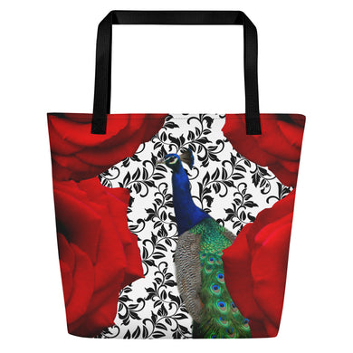 Tote Bag - Roses and Peacock