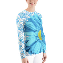 Load image into Gallery viewer, Pastel Blue Flower - Pastel Yellow and Blue - Floral Rash Guard
