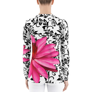 Women's Rash Guard - Water Lily - Pink Floral Shirt - UPF Shirt