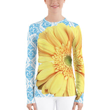 Load image into Gallery viewer, Pastel Yellow Flower - Pastel Yellow and Blue - Floral Rash Guard