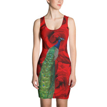 Load image into Gallery viewer, Fitted Dress - Peacock and Roses