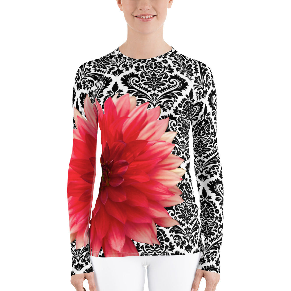 Women's Rash Guard - Pink Dahlia - Dahlia - Swim Shirt
