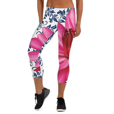 Capri Leggings - 300 Club - Pink Water Lily with Navy Blue Background