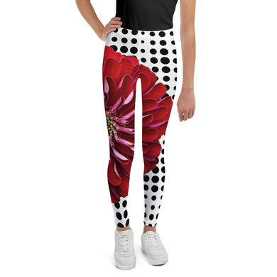 Youth Leggings - Bold Red Floral Print