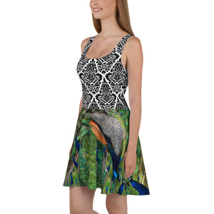 Skater Dress - Peacock and Elegant Black and White Design