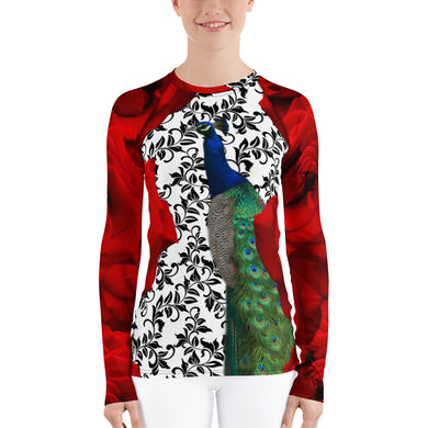 Women's Rash Guard - UPF Shirt - Sun Shirt - Roses and Peacock