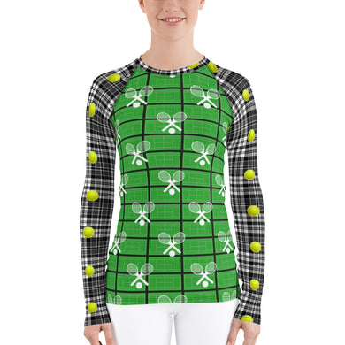 Women's Rash Guard - Tennis - Tennis Court - Tennis Balls - Tennis Fan - Tennis UPF Shirt