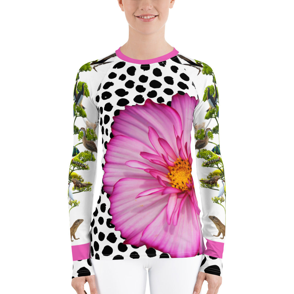 Women's Rash Guard - Fun, Whimsical Floral Designs with Lizards, Animals, and More!