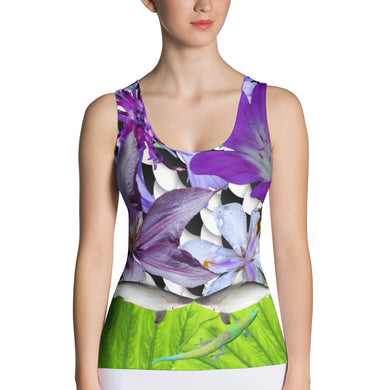 Sublimation Cut & Sew Tank Top- Sharks, flowers, and a lizard