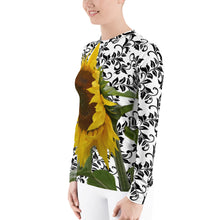 Load image into Gallery viewer, Women's Rash Guard - Sunflower - Sunflower Shirt - Sun Protection Shirt