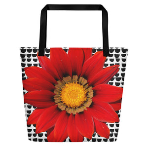 Beach Bag- Fun and Cheerful Red Flower
