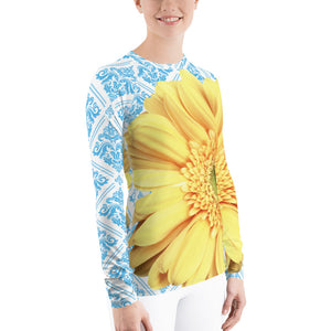 Pastel Yellow Flower - Pastel Yellow and Blue - Floral Rash Guard
