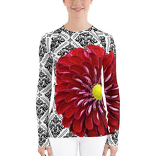 Load image into Gallery viewer, Red - Red Floral Shirt - Red Floral UPF Shirt - Tennis Shirt - Tennis Theme Shirt