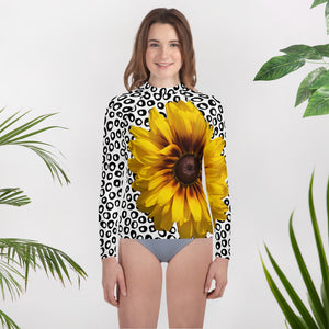 Youth Rash Guard- Sunflower with Polka Dots