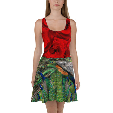 Skater Dress - Roses and Peacocks