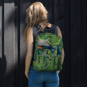 All-Over Print Backpack- Peacocks Galore!  Peacock Parade