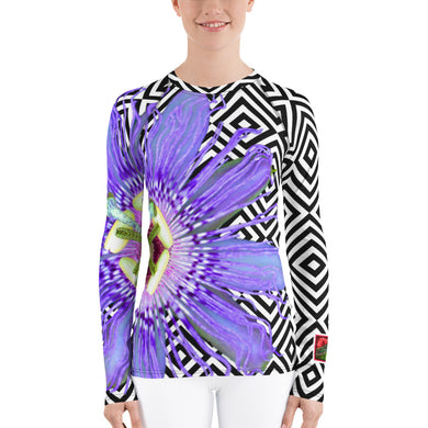 Purple Passion Flower - Passion Flower Floral Shirt - Purple Floral UPF Shirt