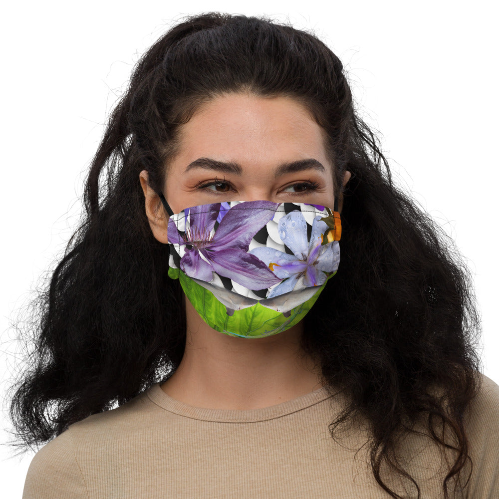Premium face mask - Sharks, Lizards and Flowers - Oh my!