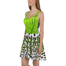 Load image into Gallery viewer, Skater Dress - Tropical leaves, winter snow scene, and tree of life with squirrel, lizards, birds, and more!
