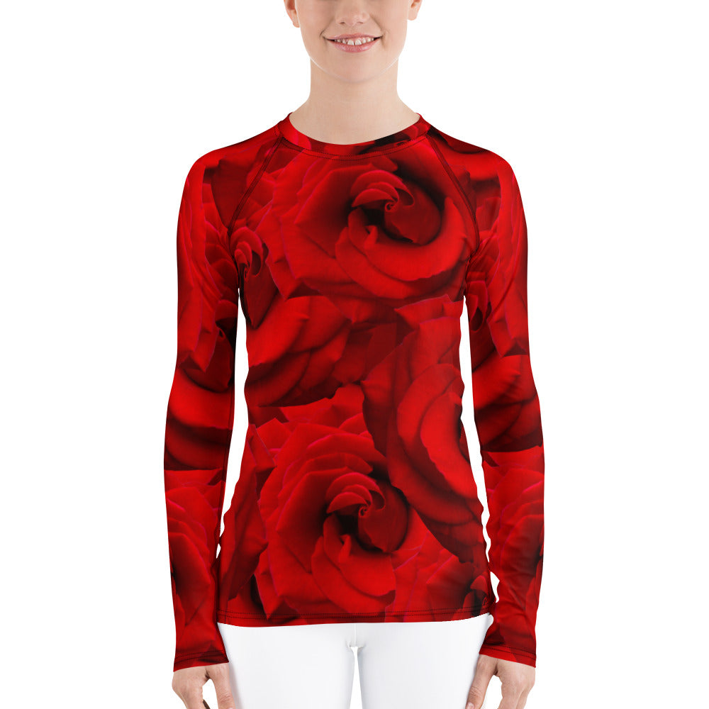 Women's Rash Guard - Red Roses - Valentine - Roses