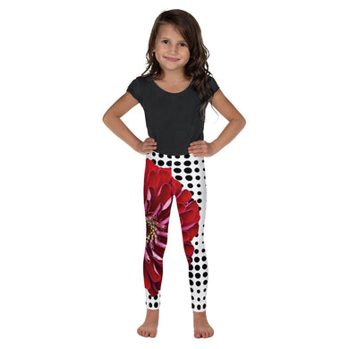 Kid's Leggings - Bold Red Flower Print
