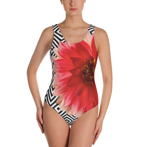 One-Piece Swimsuit - Pink Dahlia with Beautiful Black and White Pattern Background