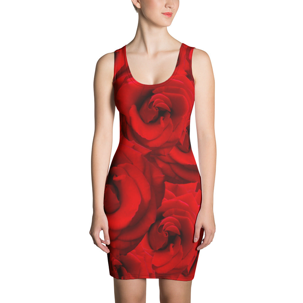 Fitted Tank Dress - Roses on the Front and Peacock on the Back