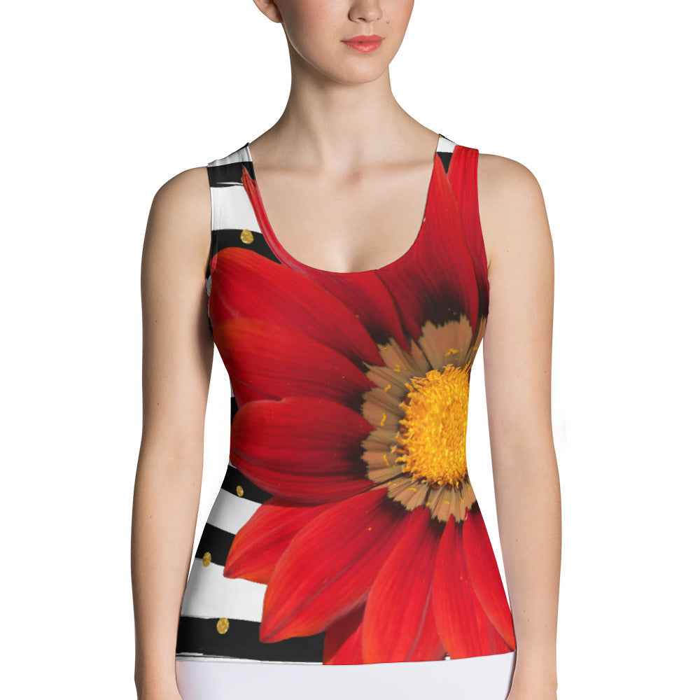 Sublimation Cut & Sew Tank Top- Beautiful Red Flower with Black and White Stripes