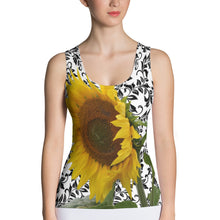 Load image into Gallery viewer, Sunflower Tank Top - Sunflower Tank Top with Beautiful Black and White Pattern Background