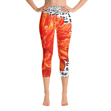 Yoga Capri Leggings - Bold Orange Flower Pattern