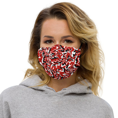 Premium face mask - Red, Black and White - Tennis Theme - Tennis Gift - Tennis Ball