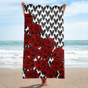 Towel - Beautiful Hearts and Roses Towel