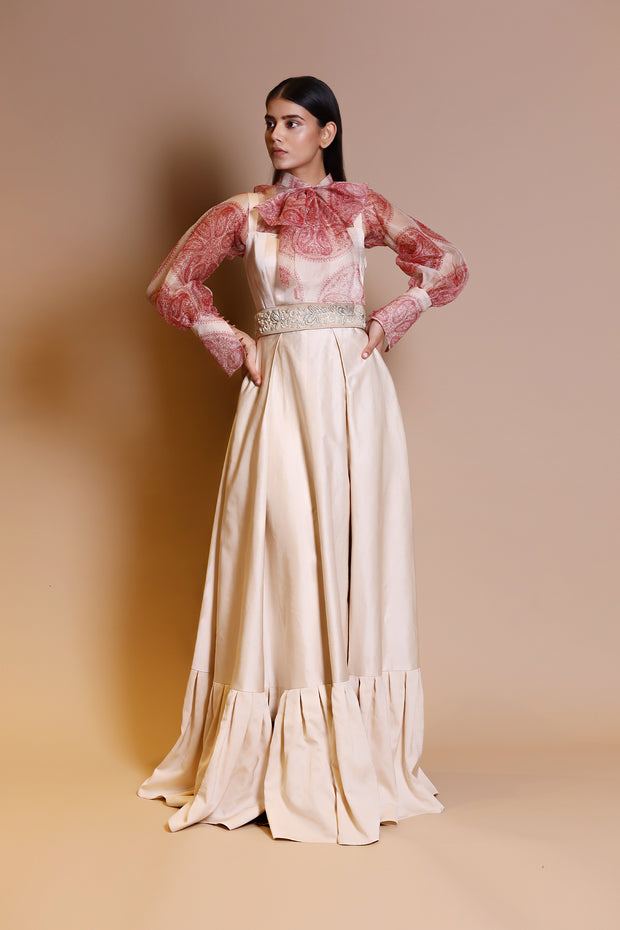 An Ivory Long Dress With A Printed Front Bow Sheer Blouse & Embellished Leather Belt